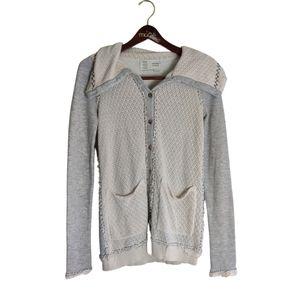 Anthropologie Saturday Sunday Fringe Button up sweater